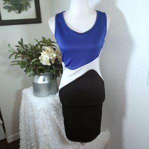 BLUE S BLACK, WHITE, & BLUE DRESS SZ.M EUC